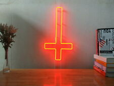 New Upside Down Cross Neon Sign For Bedroom Wall Home Decor Artwork With Dimmer