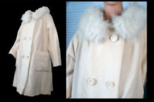 Vintage 50s Coat Genuine Fur Collar Off White Wool Double Breasted