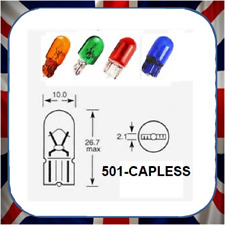 10x GREEN 501 SIDE LIGHT NUMBER PLATE PUSH IN CAR BULB CAPLESS LLB501 12V 5W T10