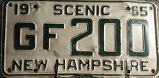 """1965 """"Scenic"""" New Hampshire White License Plate GF 200"""