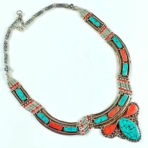 Nepal Jewelry 925 Tibetan Silver Plated Turquoise Coral Necklace SB812