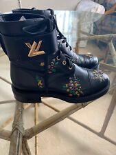Louis Vuitton LV Wonderland Combat Boots 37.5 7.5 Black Floral Flower Booties