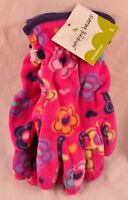 girls Jumping Beans goves size large pink floral soft fleece msrp $14