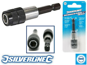 "Silverline Magnetic Quick Relaese Screwdriver Bit Holder 65mm 1/4"" Hex Fittings"