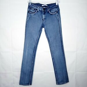 Vigoss Jeans Straight Leg Jeans Girls Size 14 Blue Stretch