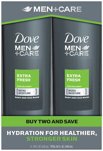 Dove Men+Care Body and Face Wash Extra Fresh 18 oz 2 Count.