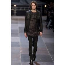 $4590 Saint Laurent Unisex Black Leather Runway Curtis Jacket 44/US 34 344468