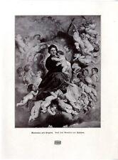 Madonna mit Kinder- Engeln n. e. Gemälde von Rubens Histor. Kunstdruck 1901