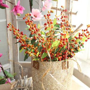Artificial Berries Branch Plastic Fake Flowers Leaf Decorative Berry Berrie U8TC