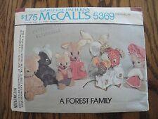McCall's STUFFED  ANIMALS SEWING PATTERN Wolf Squirrel Skunk Woodchuck Rabbit