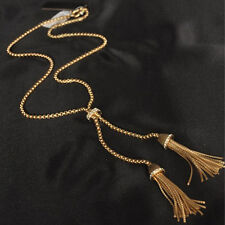 Women Alloy Gold Plated Tassel Pendant Rhinestone Long Chain Sweater Necklace US