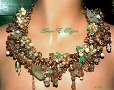 HANDCRAFTED FRESHWATER PEARLS GLASS BEADS NECKLACE