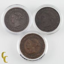 1876, 1887 & 1888 Canada One Cent 1C Lot of 3 Coins (VF-XF Condition)