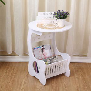 White Modern Small Round End Side Accent Coffee Table Bedroom Living Room Table