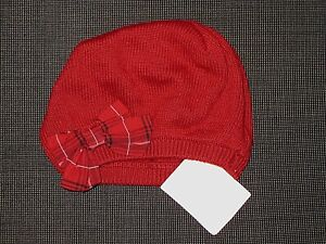NEW GYMBOREE RED COTTON KNIT WITH BOW BEANIE BERET HAT GIRL'S BABY 0-3 MONTHS