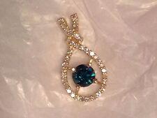 blue diamond pendant 5mm in 10mm x 20mm diamond setting