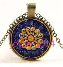 Vintage Zodiac compass Cabochon Bronze Glass Chain Pendant Necklace TS-3629