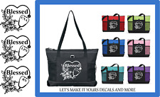 BLESSED CNA LPN RN TOTE PURSE SPORTS GYM TRAVEL WORK BAG FLORAL STETHOSCOPE ZIPS