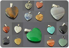 Heart Pendant Gemstone Amulet 30mm 21Varianten Silver Plated Turquoise Onyx