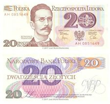 Poland 20 Zlotych 1982 P-149  Banknotes UNC