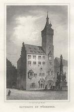 Würzburg : Rathaus / Burkhardtskirche / Marienkapelle. - 3 Stahlstiche, um 1870