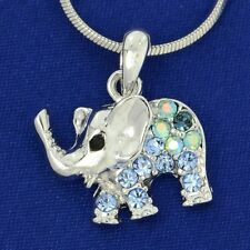 Made With Swarovski Crystal Elephant Luck Charm Blue Pendant Chain Necklace