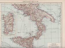 South Italy Sicily Sardinia Antique Map of 1902