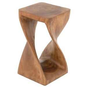 FAIRTRADE Rustic Carved Wooden Twisted Infinity Stool 51cm 20inch FU-617-L-WAXED