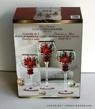 CHRISTMAS SET OF 3 HAND PAINTED GLASS CANDLE HOLDERS 30 35 AND 40 CMS BRAND NEW