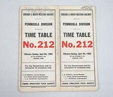 1950 Railroad Timetable Chicago & North Western Peninsula Division No. 212