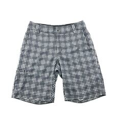 Cannondale Mens Gray Plaid Stretch Flat Front Unlined Shorts S