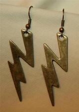Handsome Lightning Bolt Lightning Strikes Goth Brasstone PIERCED Earrings