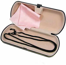 Ultras Glasses Case with Cleaning Cloth and Cords-Hard Plastic, FREE CORD+CLOTH!