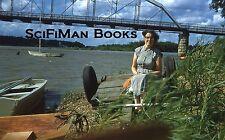 KODACHROME Red Border 35mm Slide Pretty Woman Trailer Bridge Sailboat Man 1956!