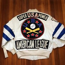 DEADSTOCK Vtg 90's GOOSE DOWN USA Baseball Leather Jacket Hip Hop Size M Korea