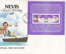 (74272) Nevis FDC Princesse Diana Mariage Royal Mini feuille 14 December 1981