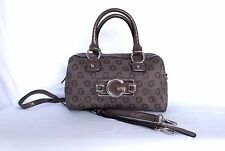 G by Guess Felice Logo Box Satchel with Cross Body Strap, Taupe, Patent Trim!