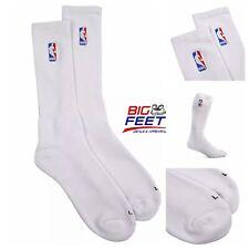 Size Large (8-14) Nba Logoman Classic White Elite Cushioned Crew Men's Socks New