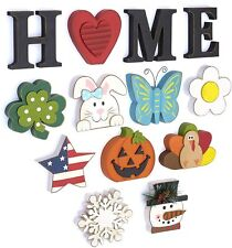 Wooden Decorative Home Signs with Letters, Pumpkin, Turkey, Snowflake - 13 Pc.