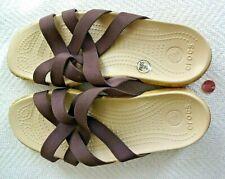 Crocs Edie Brown Stretch Women's Slide Sandals Sz W 9 Cork Sole Fabric Straps