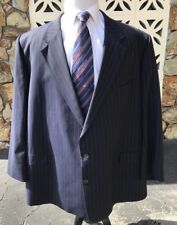 Burberry London Men's Sports Coat BIG AND TALL Blue Striped Wool Size 60 R