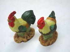 "1984 Lefton Exclusive Pair of Ceramic Rooster Figurines 2.5"" tall Cute Signed"
