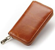 Unisex Genuine Leather Key Chains Car Key Case Zipper Wallet Card Holder Key Bag