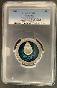 2018 Barbados / Great White Shark / MS69 Beauty w/OGP *3 Oz Silver 999 Mintage!