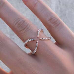 14K Rose Gold Over Round Cut X Diamond Open Ring For Women, 0.30 CT