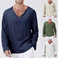 Mens Casual Long Sleeve Shirts V-neck Slim Fit Shirt Tops Blouse T-Shirt Tee Lot
