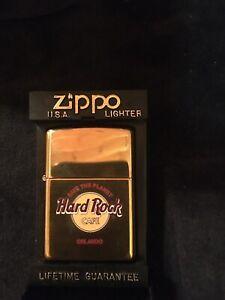 ZIPPO LIGHTER HARD ROCK CAFE SAVE THE PLANET ORLANDO 1999 BRASS UNUSED