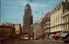 Anvers Belgique 1966 gratte-ciel, tram tramway arrêt, des magasins trafic