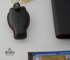 Genuine Black Leather Remote Smart Key Fob Case Holder Cover For Mercedes-Benz