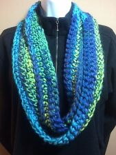 Hand Made Crocheted~2x80~Sunny Day Infinity Circle Scarf Machine Wash So Soft!